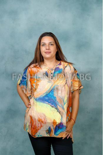 Пъстра макси блуза /размери 3XL,4XL/ Модел: 393