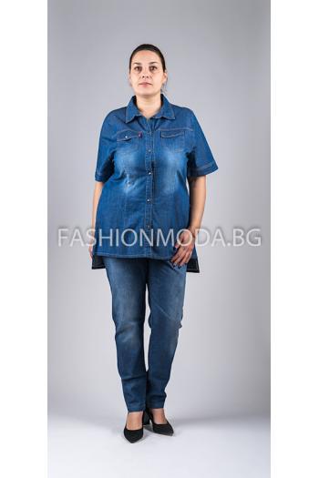 Дънкова риза с къс ръкав /размер 60,62,64/ Модел: 271