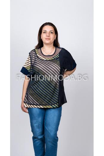 Макси блуза на райета в два цвята /размери 5XL,6XL/ Модел: 300