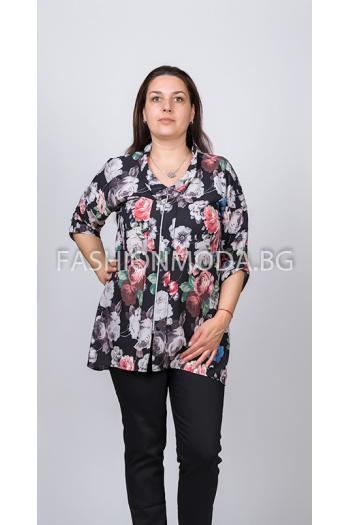 Макси риза на цветя /размери XL,2XL,3XL/ Модел: 302