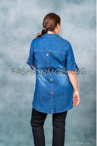 Дънкова макси риза /размери 58,60,62,64/ Модел: 316