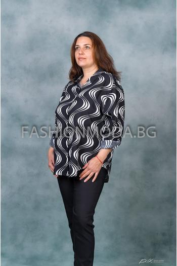 Ефирна риза в черно и бяло /размери 52,54,56,58,60/ Модел: 311