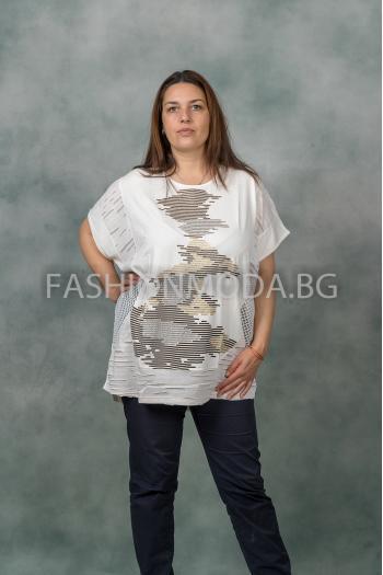 Макси блуза с камъчета /размери 3XL,4XL,5XL/ Модел: 331
