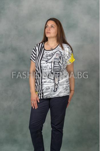 Дамска макси тениска с щампа /Универсален размер/ Модел: 340