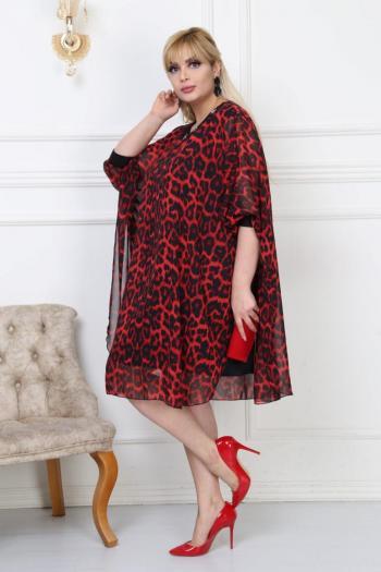 Стилно пончо в червен леопардов десен /2XL,3XL,4XL/ Модел: 277
