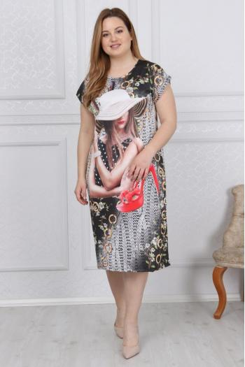 Черна макси рокля на свежи цветя /размери 2XL,3XL,4XL/ Модел: 365