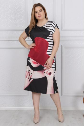 Макси рокля на рози /размери 2XL,3XL,4XL/ Модел: 401