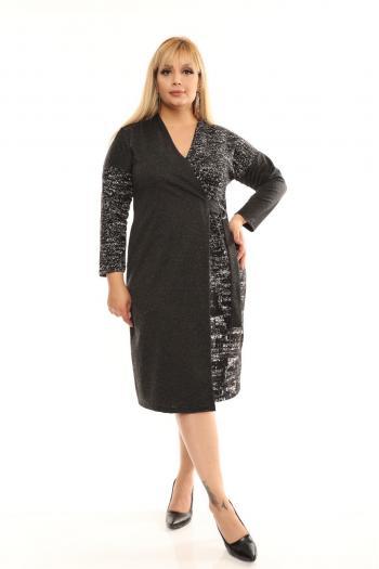Стилна макси рокля в цвят меланж /размери 2XL,3XL,4XL/ Модел: 463