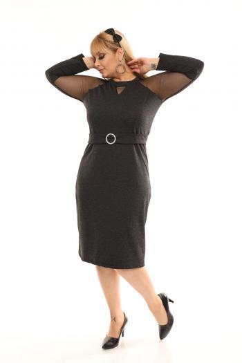 Елегантна макси рокля с ефектни ръкави /размери 2XL,3XL,4XL/ Модел: 464