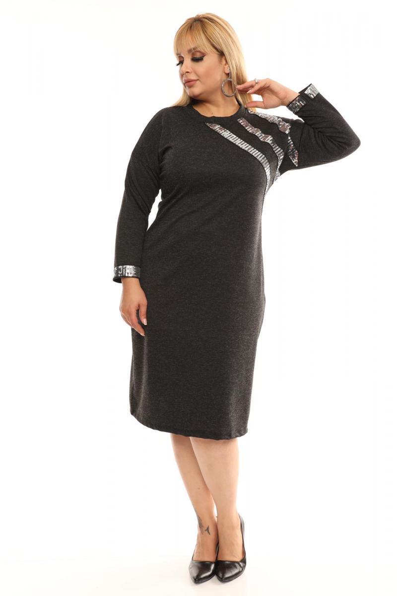 Права макси рокля с пайети /размери 2XL,3XL,4XL/ Модел: 465