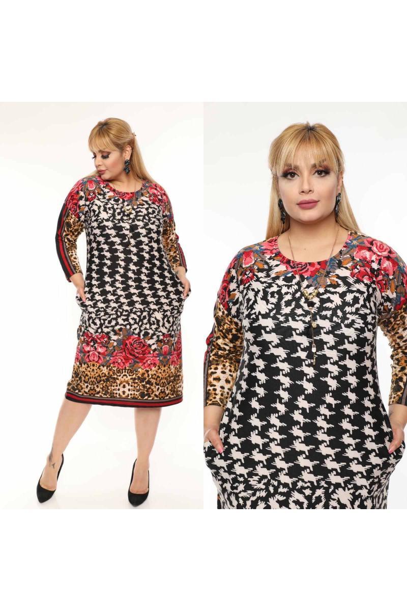 Пъстра рокля с флорални мотиви /размери 2XL,3XL,4XL/ Модел: 495