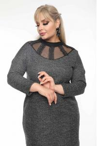 Елегантна макси рокля с тюл и камъчета /размери 2XL,3XL,4XL/ Модел: 496