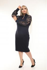 Oфициална рокля с дантела в тъмносиньo /размери 2XL,3XL,4XL/ Модел: 497