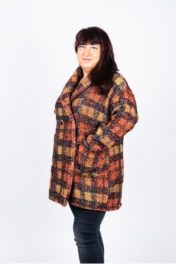 Универсално макси палто на каре Модел: 446/IT