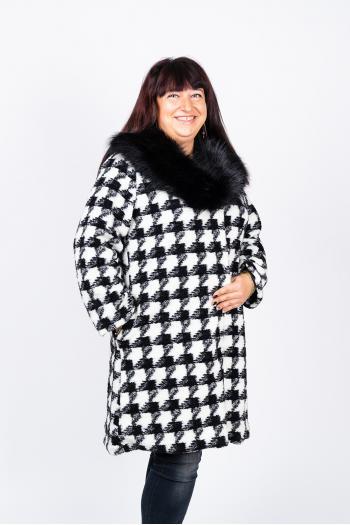 Eлегантно палто с красива яка от еко косъм /Универсален размер/ Модел: 442/IT