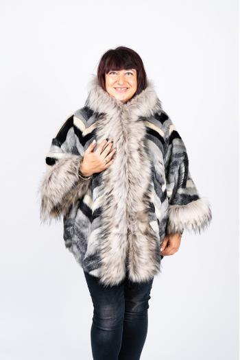 Палто от еко косъм в сиво-черен десен /Универсален размер/ Модел: 447/IT