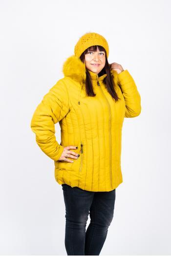 Зимно яке в цвят горчица /размери 48,50,52,54,56/ Модел: 452/CN