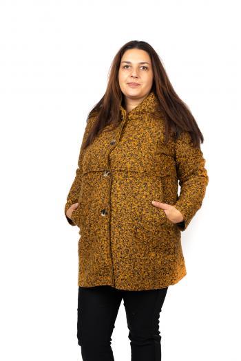 Макси палто в цвят горчица меланж.  /Универсален размер/ Модел: 407/IT