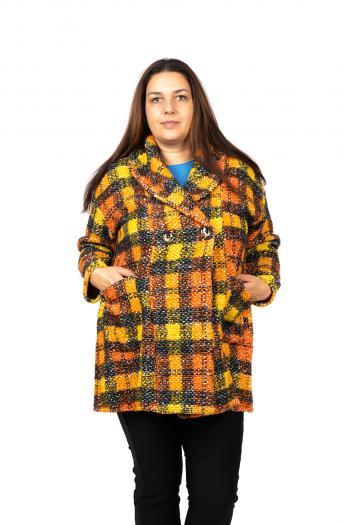 Свежо макси палто на каре /Универсален размер/ Модел: 455/IT