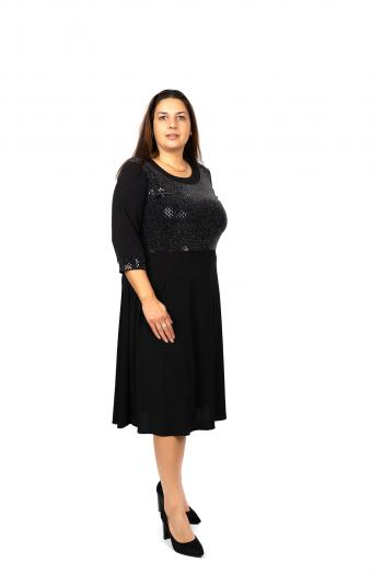 Елегантна макси рокля с ламе /размери 3XL,4XL/ Модел: 491
