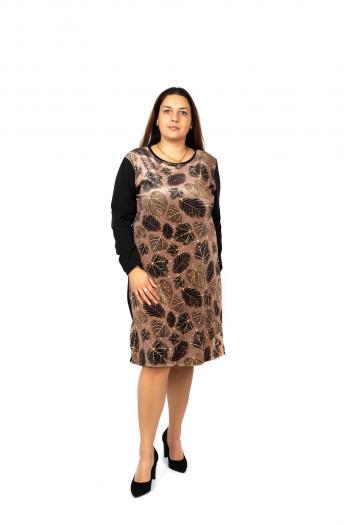 Елегантна рокля с принт на листа /Универсален размер/ Модел: 484