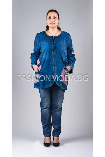 Дънково сако с цветни мотиви /размери 56,58,60/ Модел: 273