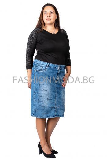Дънкова еластична  пола с камъни.50-56
