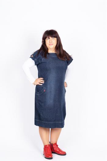 Дънкова макси рокля /размери 60,62,64/ Модел: 424/BG