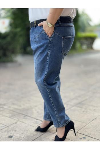 Макси дънки  в син деним и камъчета /размери 50,52,54,56/ Модел: 843/TR