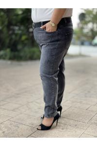 Макси дънки  в сив деним с камъчета и колан /размери 50,52,54,56/ Модел: 531/TR