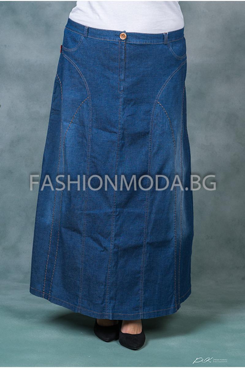 Дълга дънкова пола /размери 58,60,62,64/ Модел: 313