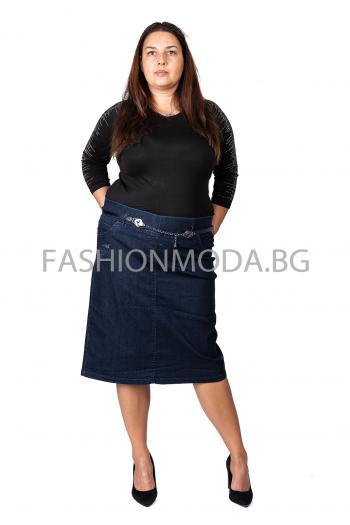 Макси дънкова пола с ластик колан /размери 50,52,54,56 / Модел: 313/TR