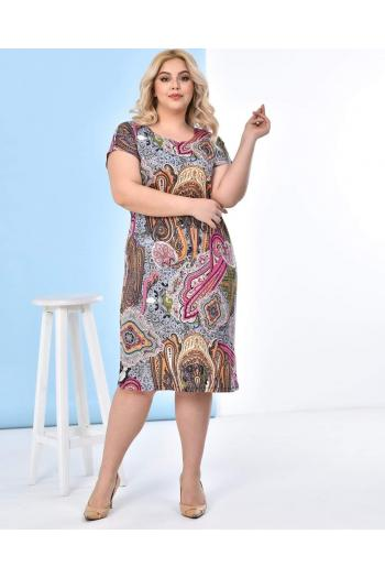 Рисувана макси рокля във флорални цветове /размери 2XL,3XL,4XL/ Модел: 346