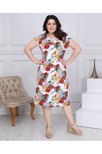 Макси рокля на цветни рози /размери 2XL,3XL,4XL/ Модел: 524