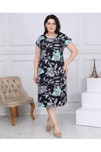 Макси рокля с принт на цветя /размери 2XL,3XL,4XL/ Модел: 526