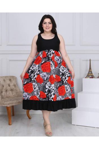 Макси рокля без ръкав на рози /размери 2XL,3XL,4XL/ Модел: 397