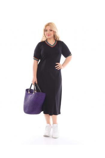 Изчистена рокля с шарен кант /размери 2XL,3XL,4XL/ Модел: 347TR