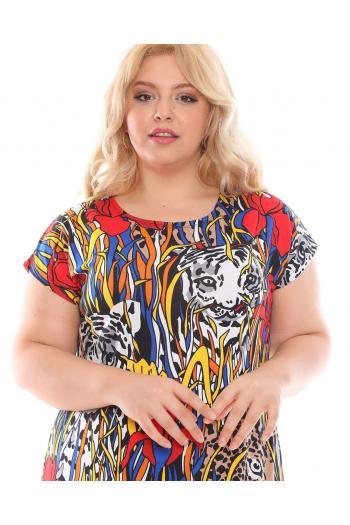 Абстрактна рокля с тигър /размери 2XL,3XL,4XL/ Модел: 396