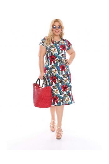 Макси рокля на цветя /размери 2XL,3XL,4XL/ Модел: 527