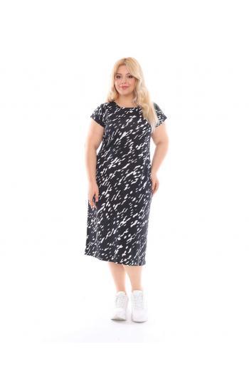 Макси рокля в черно-бял десен /размери 2XL,3XL,4XL/ Модел: 530