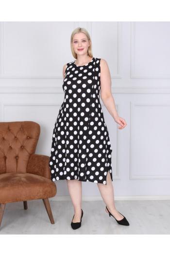 Разкроена рокля на точки. /2XL,3XL,4XL/ Модел: 348