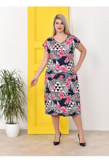 Пастелна лятна рокля в разкошен десен. 2XL,3XL,4XL/ Модел: 497