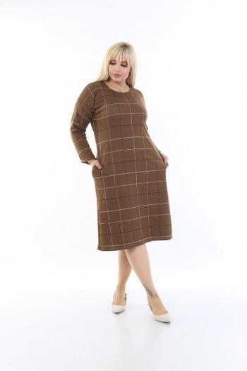 Макси рокля на квадрати в кафяв цвят /размери 2XL,3XL,4XL/ Модел: 523