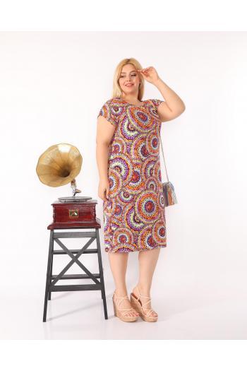 Свежа макси рокля на кръгове /3XL,4XL,5XL/