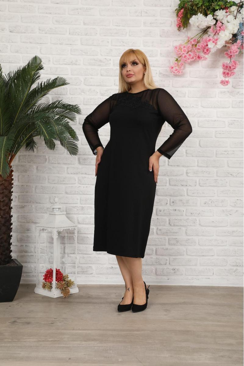 Стилна рокля с тюл /размери 2XL,3XL,4XL/ Mодел: 556