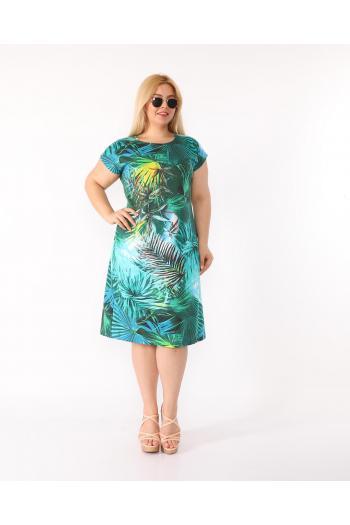 Пастелна рокля на цветя /размери 2XL,3XL,4XL/ Модел: 367