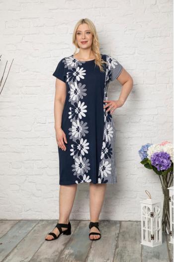 Свежа рокля на маргарити. /размери 2XL,3XL,4XL/ Модел: 496