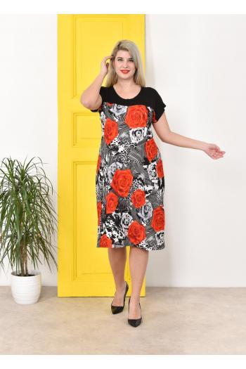 Нежна макси рокля на рози.  / 2XL,3XL,4XL/ Модел: 322
