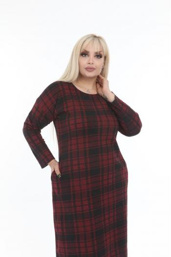 Макси рокля на каре в бордо /размери 2XL,3XL,4XL/ Модел: 402