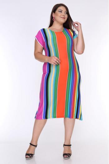 Макси рокля на райе /размери 2XL,3XL,4XL/ Модел: 530
